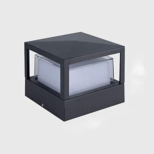 Modern 7W LED Außenpollerlampe,Schwarz Aluminium und Acryl Außenlampe Wasserdichter Sockel-Lampe Würfel Design Hoflampe für Pfeiler Zäune Eingang Balkon Parks,3000K Warmweiss Licht