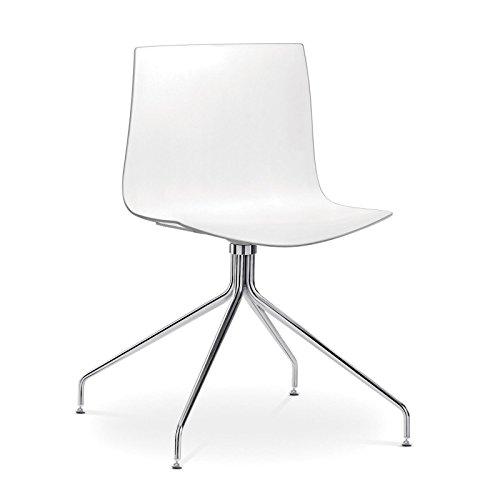arper Catifa 46 0257 Stuhl einfarbig mit Sternfuß, weiß Außenschale glänzend innen matt Gestell verchromt