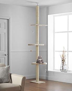 Pippa & Max Arbre à Chat Haut 215cm - 288cm, du Sol au Plafond | Tour Griffoir Chat, Poteau Arbre Chat avec étagères en Bois