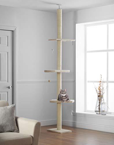 Kratzbaum Deckenhoch XL 215cm - 288cm, Kletterbaum mit Reichweite vom Boden bis zur Decke, Kletterbaum Höhenverstellbar, Katzenbaum Katzenkratzbaum Spielbaum Katzenmöbel Katzenkratzturm für Katzen