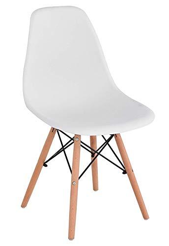 Weißer hölzerner Esszimmerstuhl Bürostuhl mit hölzernen Beinen 54x46x82 cm