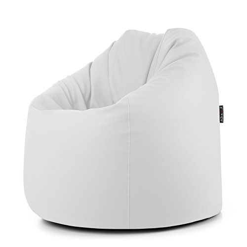 Pouf mou en simili cuir PVC déhoussable rempli de billes de polystyrène Blanc 78 x 78 x 93 cm