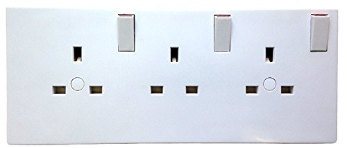 Newlec NL8300/23SCA Double To Triple Socket Converter - 2 To 3 Gang Electric Wall Plate Adaptor