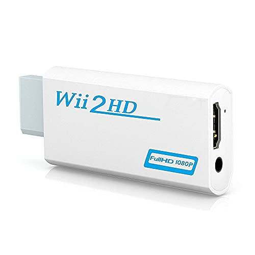 Joliy Salida de vídeo Adaptador de Audio Convertidor 1080P Wii Adaptador Compatible con HDMI con Conector de 3,5 mm Compatible con Pantalla de PC HDTV