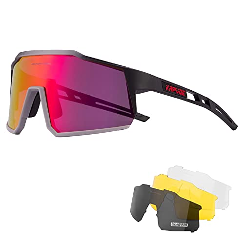 KAPVOE Gafas de Ciclismo Polarizadas con 4 Lentes Intercambiables TR90 Gafas de Sol Deportivas Mujeres Hombres Running MTB Bicicleta Accesorios 08