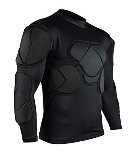 QIKEGooods Herren gepolsterte Fußball-Schutzausrüstung Set Trainingsanzug für Fußball Rugby Basketball Paintball Rib Protector für Herren, Herren, Langes Shirt 2, L