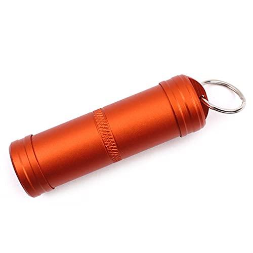 Caja médica 7.5 * 2.2cm Funda de píldora más grande Aluminio Aleación de metal Píldora Caja Llavero A prueba de agua Botellas selladas al aire libre First Aid Medicine Organizador ( Color : Orange )