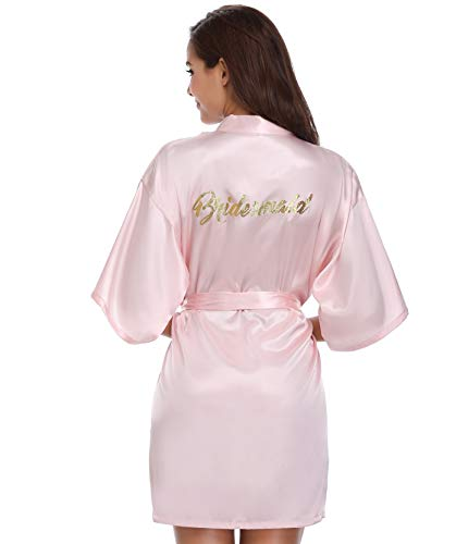 Vlazom Hochzeits Morgenmantel Satin Kimono Robe Kurz Braut Nachtwäsche Sleepwear V Ausschnitt mit Gürtel für Braut Brautjungfern Hochzeit Party
