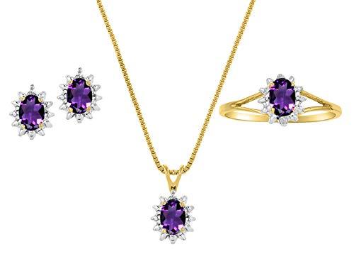 Juego de pendientes y anillo de amatista natural auténtica y diamante en plata chapada en oro amarillo de 14 quilates con cadena y caja de regalo