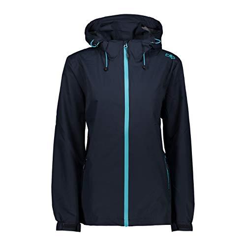 CMP Damen Waterproof Jacket with Detachable Hood Jacke, Black Blue, D40