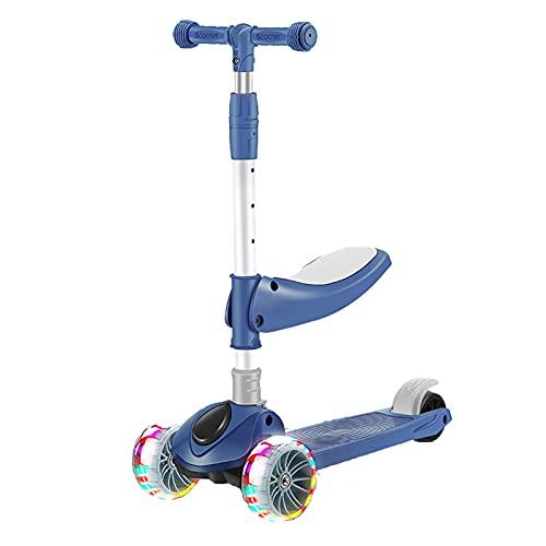 JIANGCJ Patinete 2 en 1 para niños, con tres ruedas con luz de poliuretano extra ancha, tabla ajustable y freno de rueda trasera, para niños de 2 a 12 años, color azul