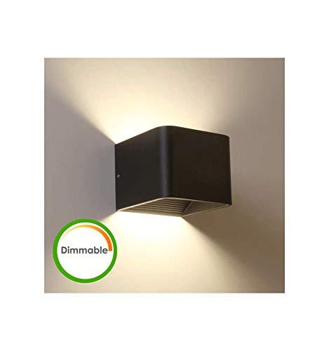 KOSILUM - Applique LED compatible variateur coloris noir - Quadra - Lumière Blanc Chaud Eclairage Salon Chambre Cuisine Couloir - 6W - 380 lm - LED intégrée - IP20