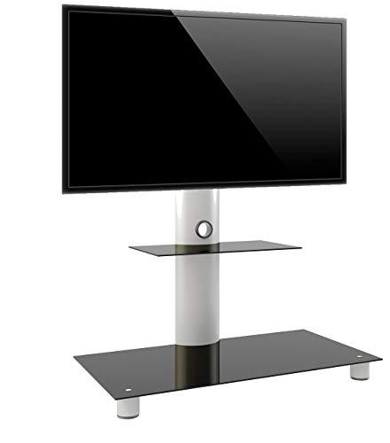 VCM 14225 Standol Meuble TV roulettes Incluses Aluminium/Verre Argent/Noir