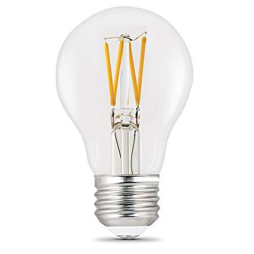 Feit Electric BPA1975CL927CA/FIL/2 75 Watt Equivalent 1100 Lumen Dimmable A19 LED Filament Light Bulb E26 Base, 4