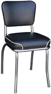 Richardson Seating Retro Chrome Kitchen Chair with 2 Waterfall Seat, Black