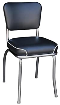 Richardson Seating Retro Chrome Kitchen Chair with 2  Waterfall Seat Black
