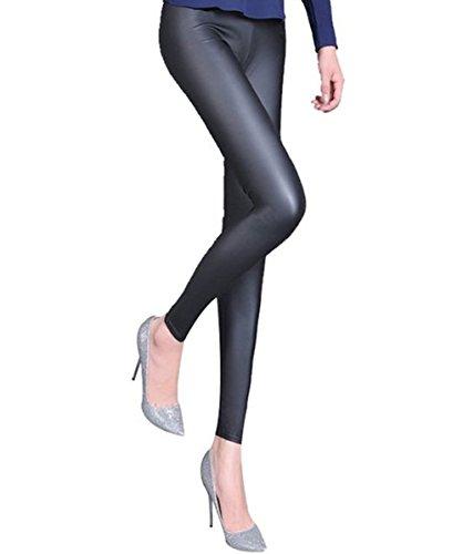 A-Express Damen Nass Look Blick Leggings Glänzend Glanz knöchellang Leggins Wetlook Treggins - EU 48