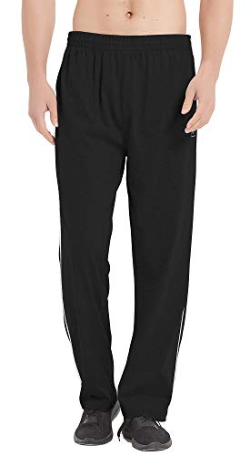 MoFiz Men Jersey Pant Jog Pants Lounge Pants Cotton Sweatpants Running Pants Open Bottom Black M