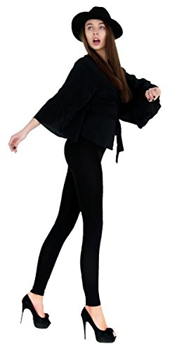 LDR128-BLACK Basic Solid Leggings, One Size