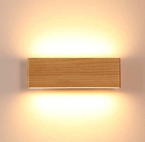 Martll Aplique de pared LED Lámpara de pared Interior Madera Aplique Lámpara de arriba y abajo Iluminación de pared para sala de estar Dormitorio Pasillo Escalera Blanco Cálido Luces (22cm)