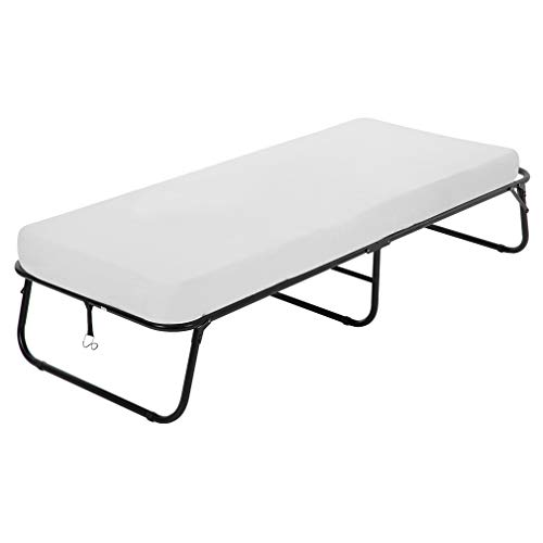 Guest Folding Bed Camping Cot Portable Beds Folding Bed Frame with 3.9 Inch Comfort Foam Mattress Strong Sturdy Frame Heavy Duty L77W31H12 Inches for Spare Bedroom & Office,White