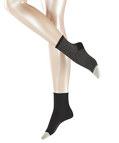 ESPRIT Damen Socken Nice Stripe 2-Pack, 88% Baumwolle, 2 Paar, Schwarz (Black 3000), Größe: 39-42