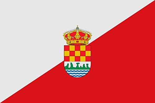 magFlags Bandera Large Tajada de Plata y Gules; cargada en el Centro del Escudo privativo del Concejo | Bandera Paisaje | 1.35m² | 90x150cm