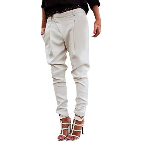 Storerine Frauen-beiläufige Laterne Plus Größen-Normallack-lose Dame Long Pants Trousers D119 Damen Volltonfarbe Füße Größe Slim Freizeithose Weiß, schwarz, grün
