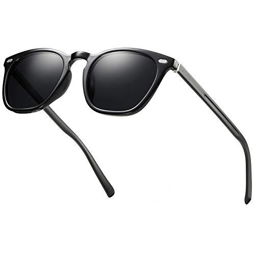 FEIDU Halbrahmen Polarisierte Klassische Metall Sonnenbrillen Herren-Retro Polarisierte Sonnenbrille Damen FD 3031 (z-Matt schwarz, 2.04)