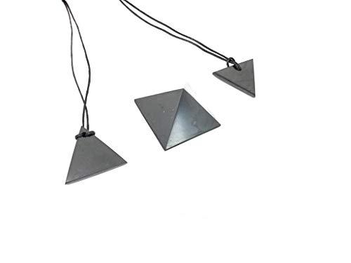 Karelian Heritage Genuine Black Shungite Stone Pyramid and Pendant Protection 3 Pieces Set S023