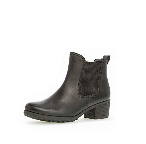 Gabor Damen Stiefeletten, Frauen Chelsea Boots,Reißverschluss,Optifit- Wechselfußbett, Lady Ladies feminin elegant Women's,schwarz,43 EU / 9 UK