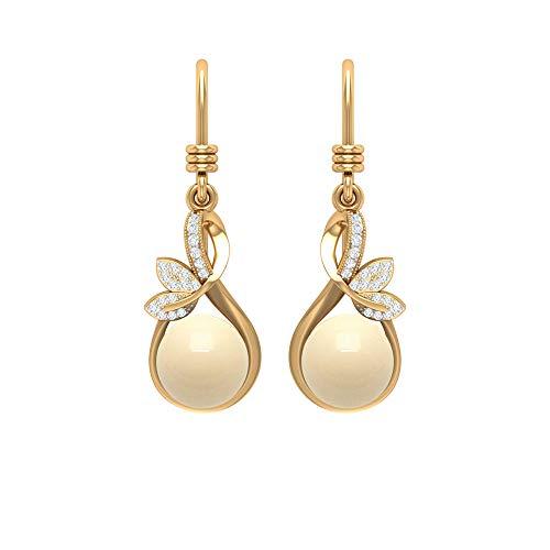 Rosec Jewels - Pendientes de perlas cultivadas japonesas de 8 mm en oro con diseño de gota de lágrima, diamantes de media flor, gancho de pescado