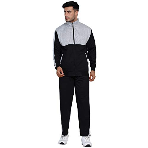 Fabnest Men's Fleece Winter Black and Grey Casual and Workout Fleece Track Suit Set with Piping Design