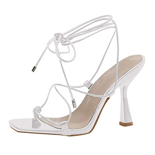 Sandalias Mujer Zapatos con Tira De Tobillo para Mujer Sandalias Mujer Atadas Zapato Stiletto TacóN Alto Sandalias De Moda Zapatos De Vestir De Playa Zapatos Casuales De Fiesta