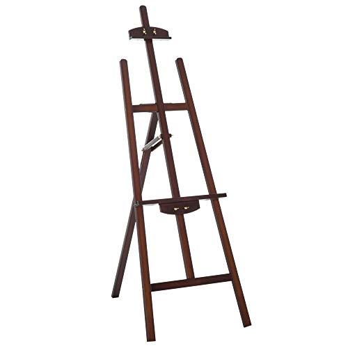 HOMCOM Staffelei aus Holz, Höhe und Neigung, verstellbar, Braun, 46 x 60 x 140 cm