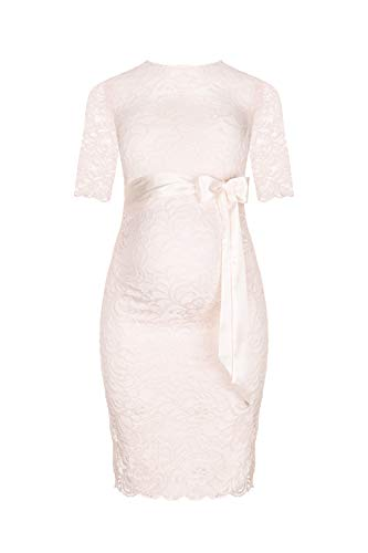 Herzmutter Umstands-Spitzen-Kleid - Elegantes-knielanges-Schwangerschafts-Kleid - für Festliche Anlässe-Hochzeit-Feier - Mit Spitze - Creme-Champagner-Blau-Rot-Rosé - 6200 (Creme, M)