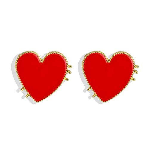 Yhhzw Pendientes Rojos En Forma De Corazón Para Mujer Pendientes Colgantes Punk Dorados Pendientes Llamativos Joyería Regalo De Fiesta