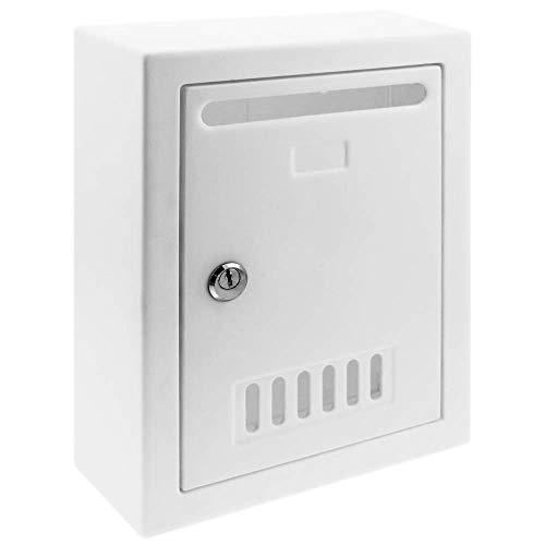 PrimeMatik - Briefkasten Postkasten Kunststoff Weiss Farbe für wallmount 205x80x273mm