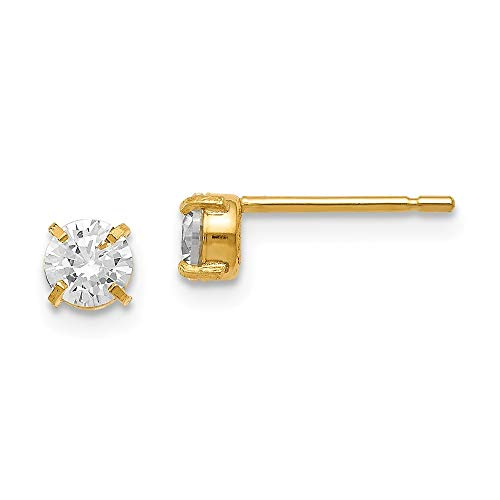 14ct Yellow Gold Post Earrings CZ Cubic Zirconia Simulated Diamond Stud 4.0mm Earrings Jewelry Gifts for Women