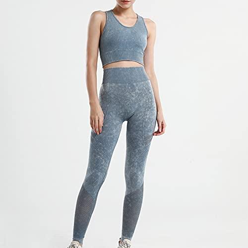 YLBHD Conjunto deportivo sin costuras de las mujeres hueco transpirable sujetador de cintura alta de levantamiento de la cadera de fitness Leggings de entrenamiento ropa de yoga traje