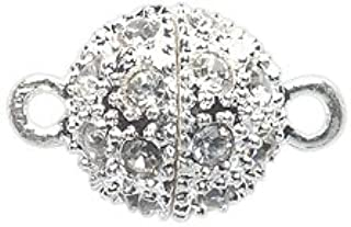 Shipwreck Beads Electroplated Metal Ball Magnetic Clasp with Rhinestone, 12 mm, Silver, 2-Pack