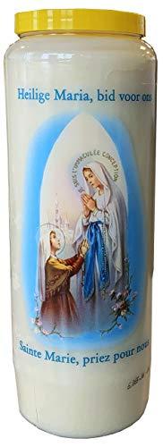 Madonna di Lourdes Candela di preghiera a vasetto Novena 18 x 7 cm 100% Vegetale Combustione 9 giorni - 216 ore