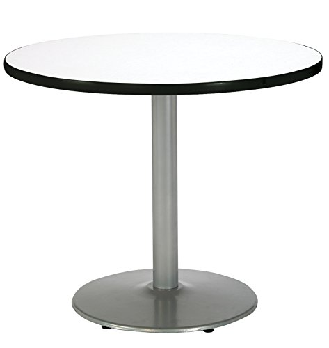 KFI Seating Round Pedestal Table with Round Silver Base, Commercial Grade, 30-Inch, Crisp Linen Laminate, Made in the USA