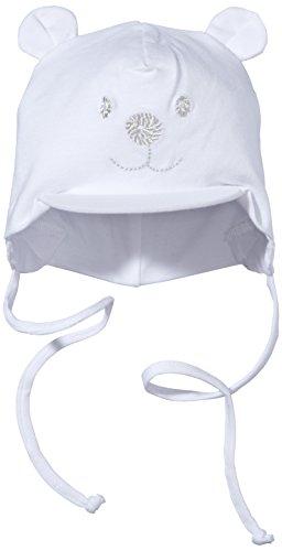Sterntaler Unisex Schirmmütze mit Bindebändern, Nackenschutz und niedlichem Bärchen-Motiv, Alter: 4-5 Monate, Größe: 41, Weiß
