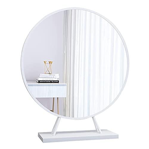 MU Espejo de Pared Blanco Redondo Vanity Mirror Freestanding Espejo de Maquillaje de Maquillaje Espejo Cosmético Mde Hierro Metálicos para Dormitorio, Espejo de Decoración Casera para Closet Y Peluqu