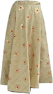SNEH Women's Dupion Silk Heavy Gota Patti Work Skirt (Cream Golden,Free Size)