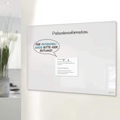 Glas-Whiteboard | Sicherheitsglas | Reinweiß | Rahmenlos | 8 Größen (120x180 cm)