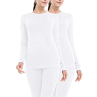 MANCYFIT Thermal Underwear for Women Long Johns Set Fleece Lined Ultra Soft 2 Pack White x2 Large