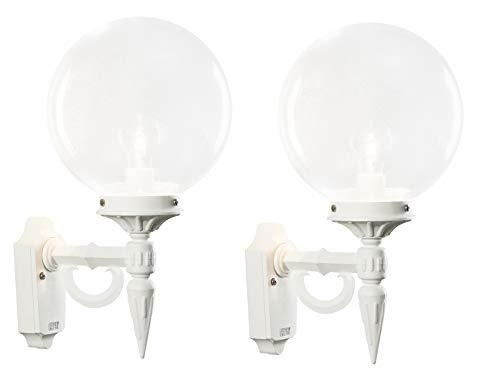 KONSTSMIDE 2er-Set Außenwandleuchten ORION, E27, klares Acrylglas, matt-weißes Aluminium; 496-250