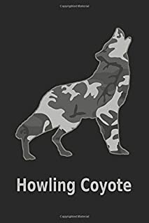 Howling Coyote: 6x9. 120 page.  College Rule.  Funny Camo Canine Camouflage Cover journal composition book (Notebook School Office Supplies) on Black